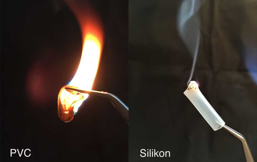Links: falscher Silikonschlauch (PVC) von E-Bay, rechts: richtiger Silikonschlauch
